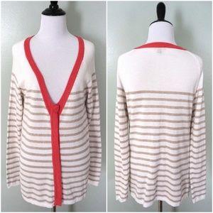 LILLA P Long V-Neck Striped Cardigan Modal Sweater